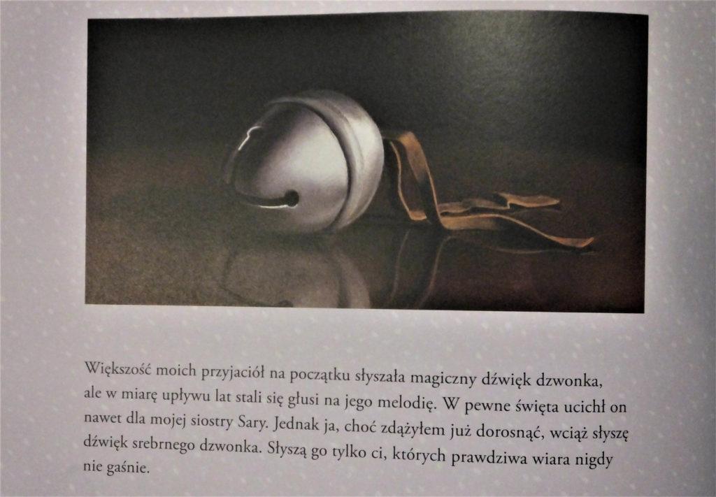 """Strona z książki """"Ekspres polarny"""": """"Jednak ja, choć zdążyłem już dorosnąć, wciąż słyszę dźwięk srebrnego dzwonka."""""""