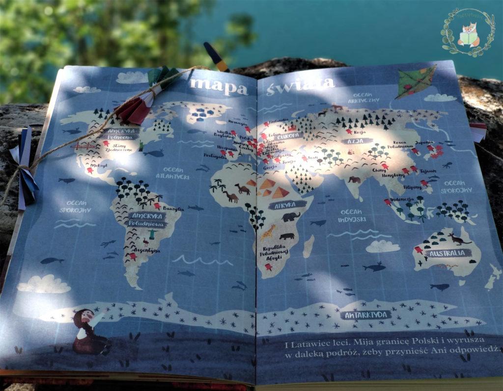 """""""Zielony latawiec. Przyjaźń przez 6 kontynentów"""" mapa"""